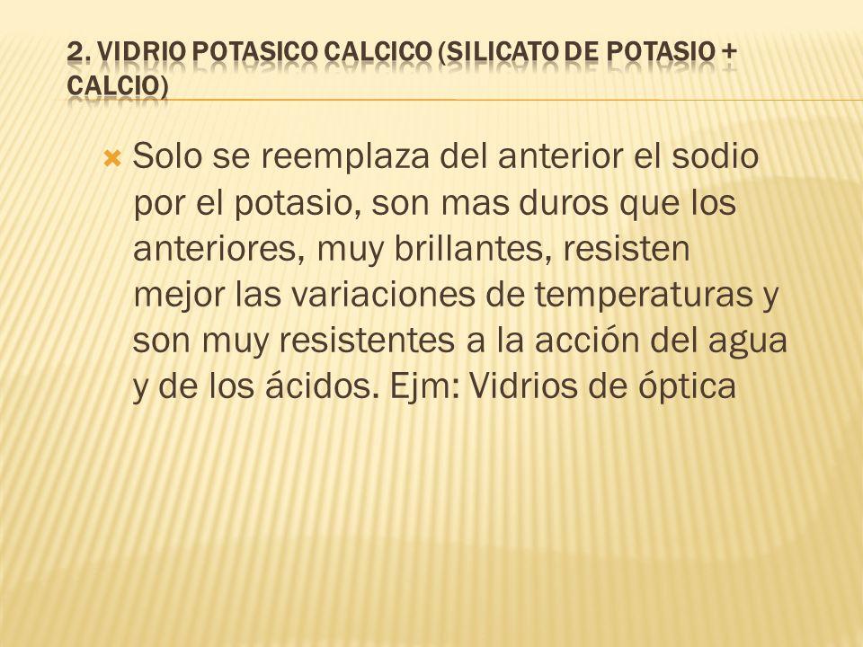 2. VIDRIO POTASICO CALCICO (Silicato de potasio + calcio)