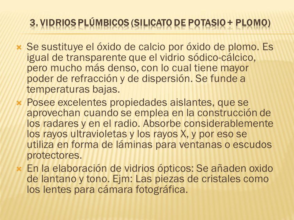 3. Vidrios Plúmbicos (Silicato de potasio + Plomo)