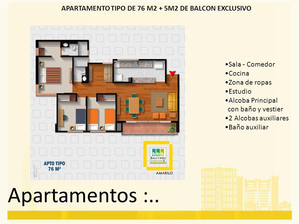 APARTAMENTO TIPO DE 76 M2 + 5M2 DE BALCON EXCLUSIVO