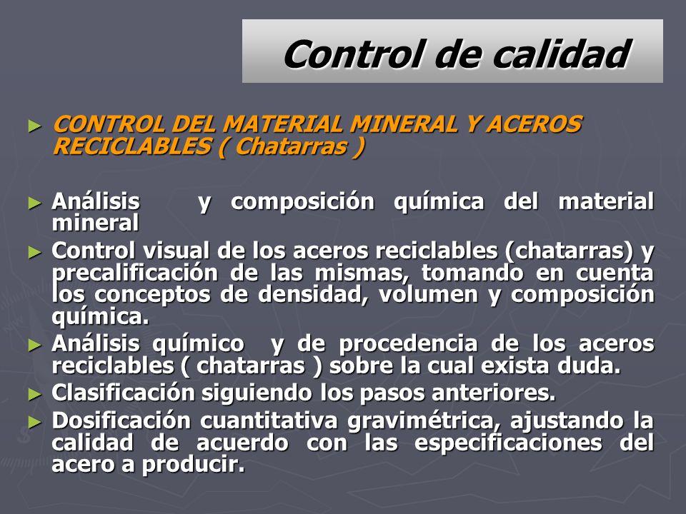 Control de calidad CONTROL DEL MATERIAL MINERAL Y ACEROS RECICLABLES ( Chatarras ) Análisis y composición química del material mineral.