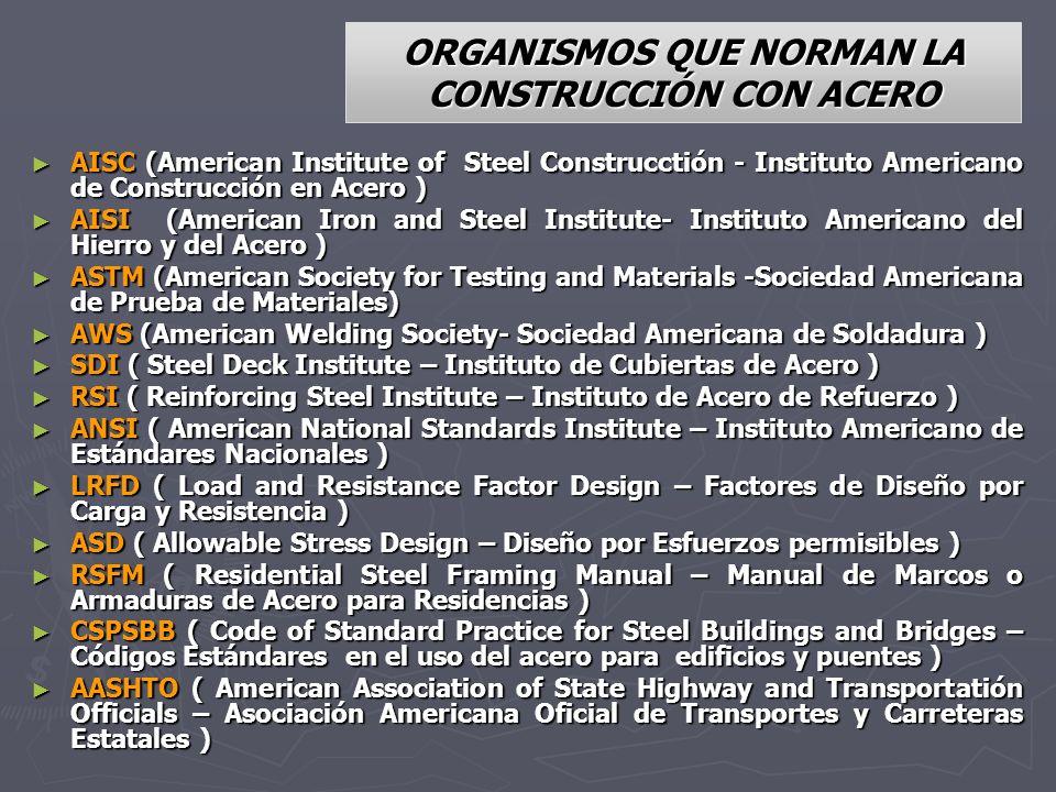 ORGANISMOS QUE NORMAN LA CONSTRUCCIÓN CON ACERO