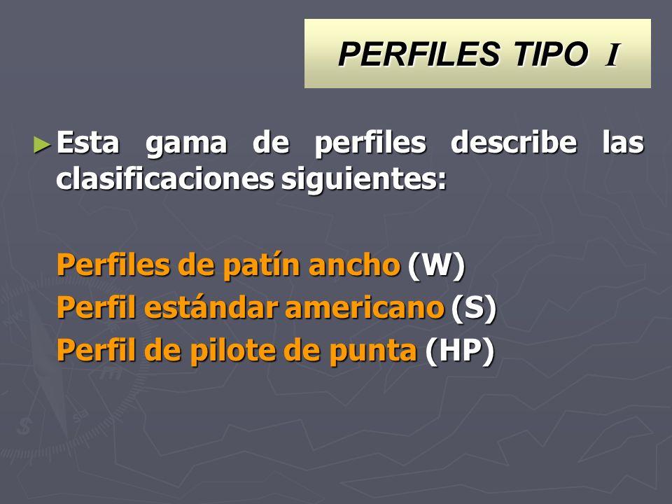 PERFILES TIPO I Esta gama de perfiles describe las clasificaciones siguientes: Perfiles de patín ancho (W)