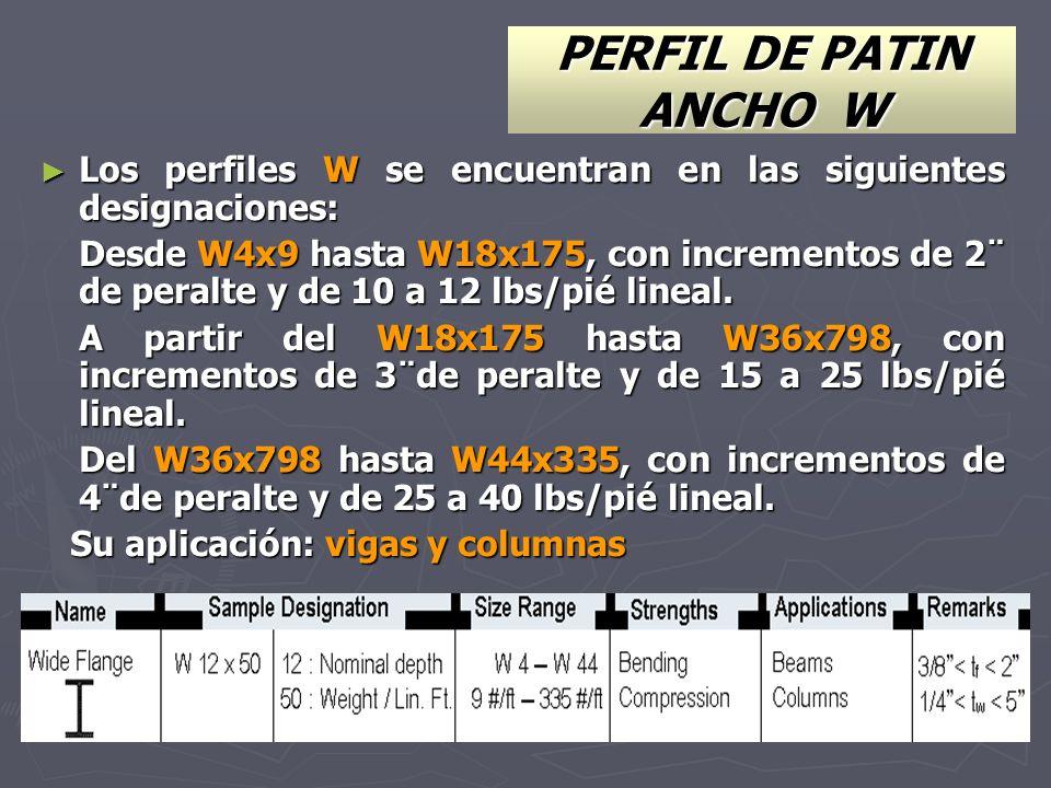 PERFIL DE PATIN ANCHO W Los perfiles W se encuentran en las siguientes designaciones: