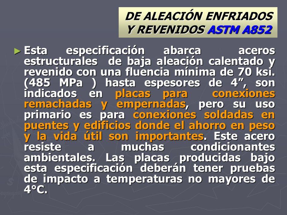 DE ALEACIÓN ENFRIADOS Y REVENIDOS ASTM A852