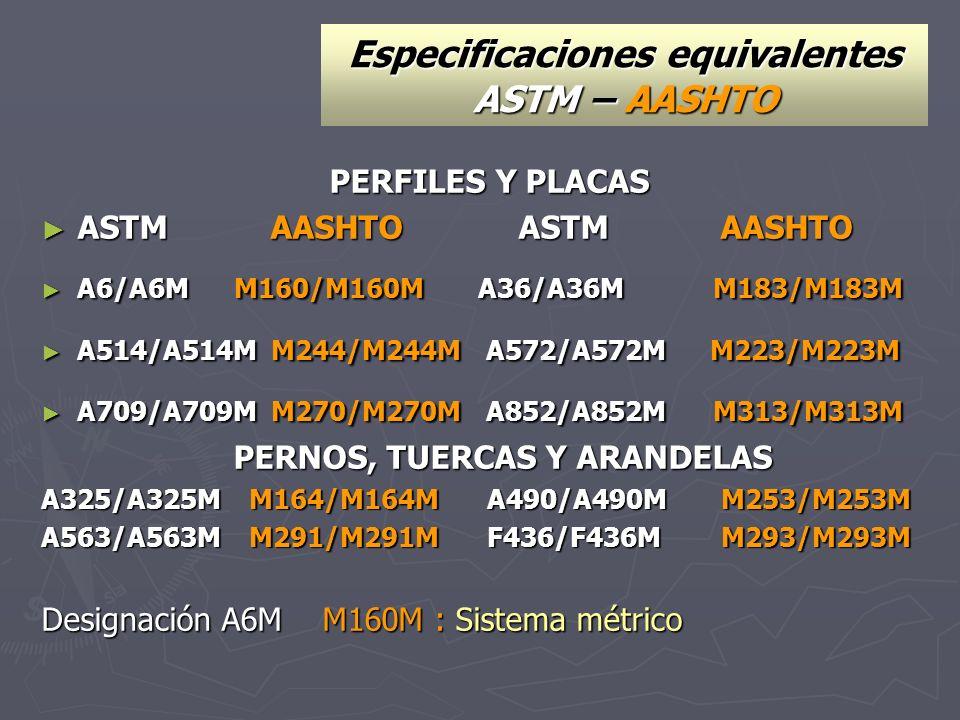Especificaciones equivalentes ASTM – AASHTO