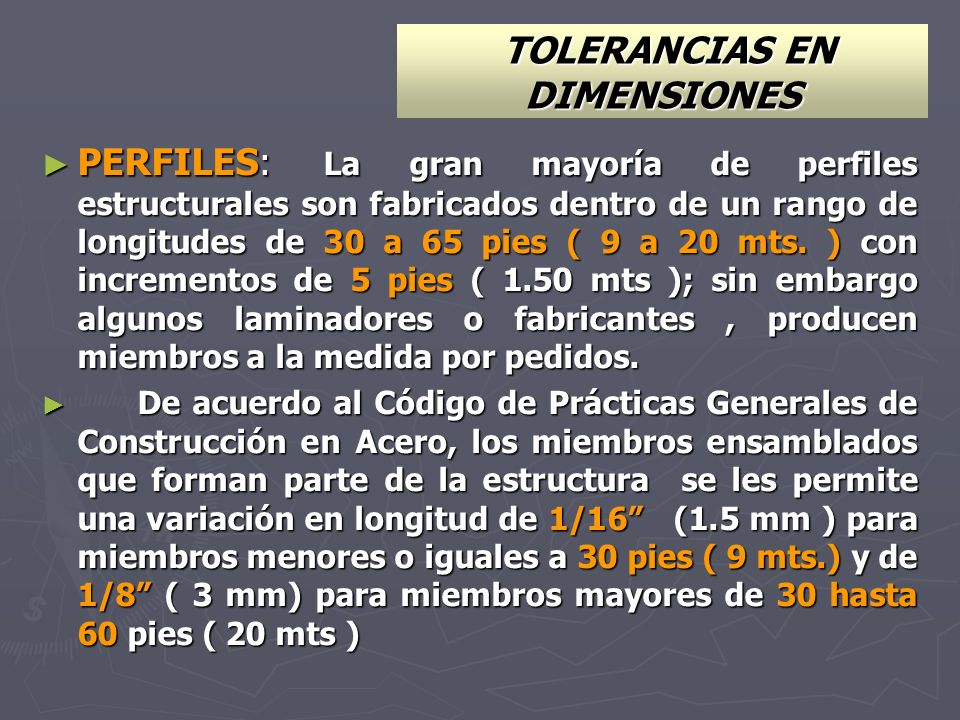 TOLERANCIAS EN DIMENSIONES