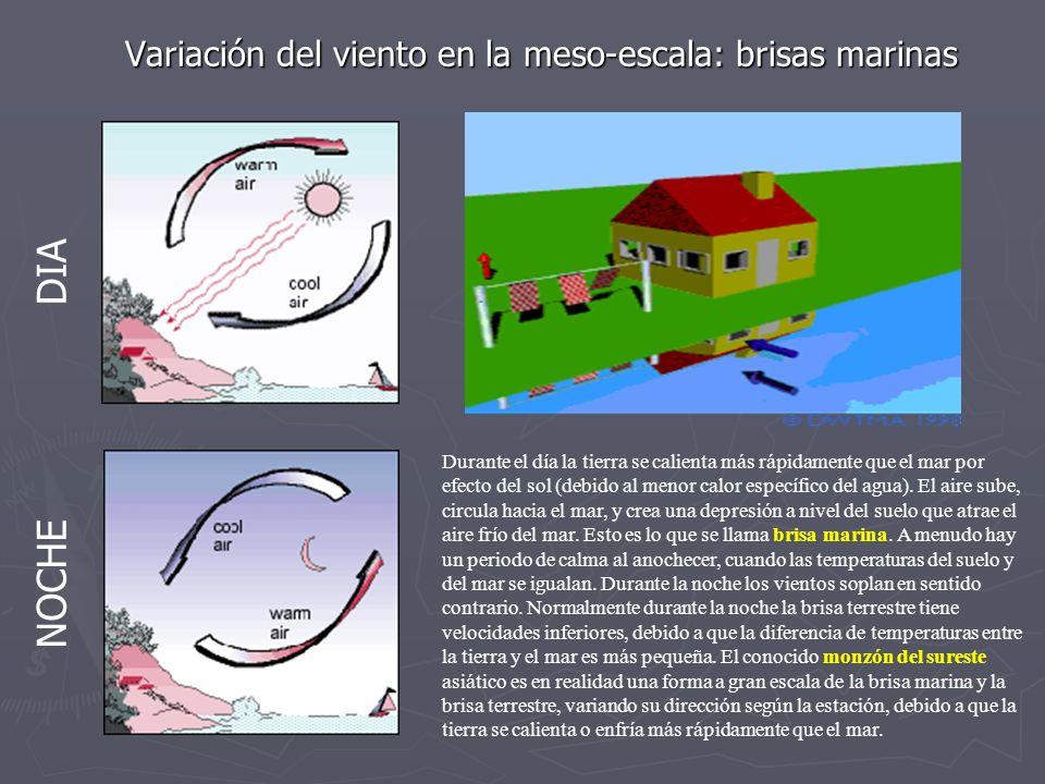 Variación del viento en la meso-escala: brisas marinas