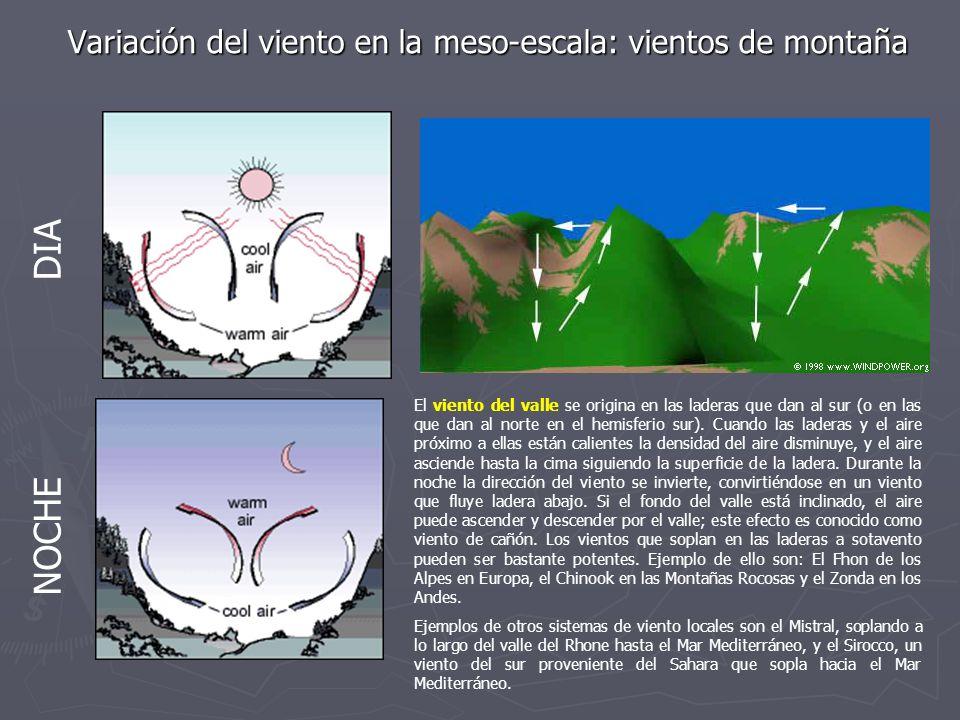 Variación del viento en la meso-escala: vientos de montaña