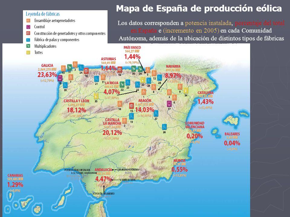 Mapa de España de producción eólica
