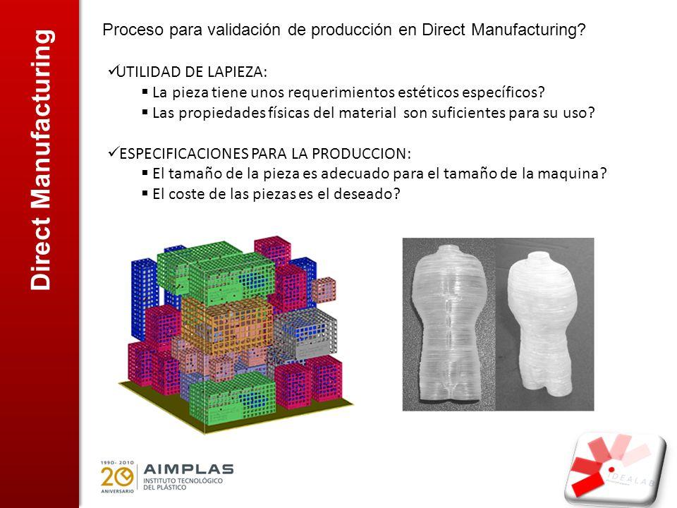 Proceso para validación de producción en Direct Manufacturing