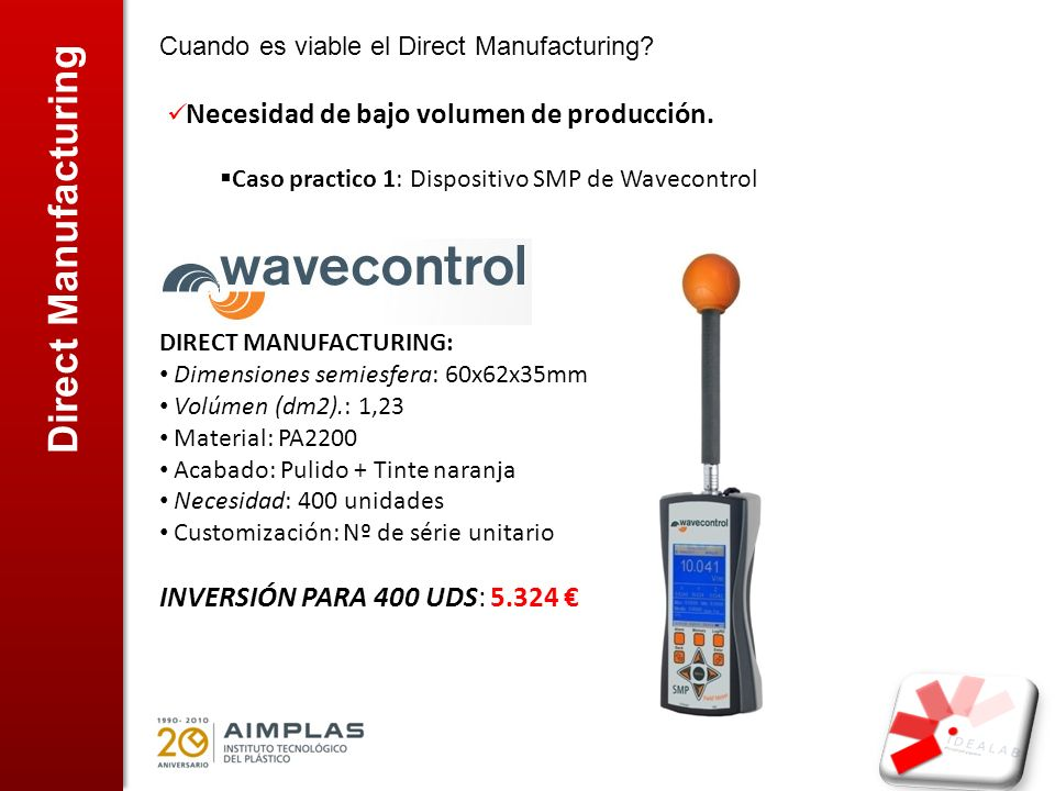 Direct Manufacturing INVERSIÓN PARA 400 UDS: 5.324 €