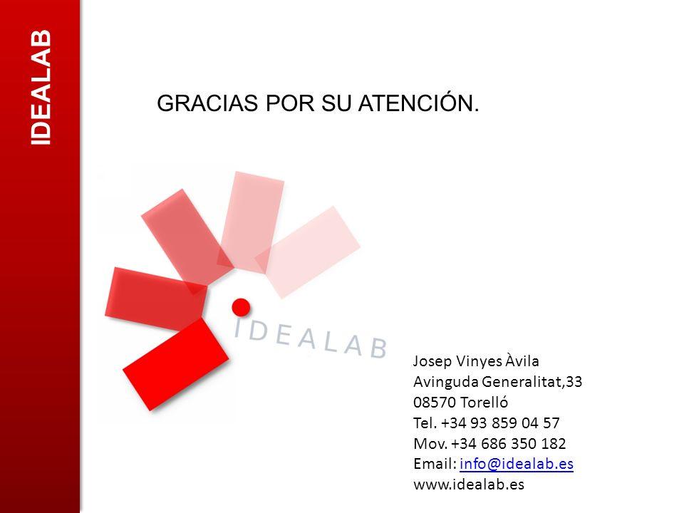 IDEALAB GRACIAS POR SU ATENCIÓN. Josep Vinyes Àvila