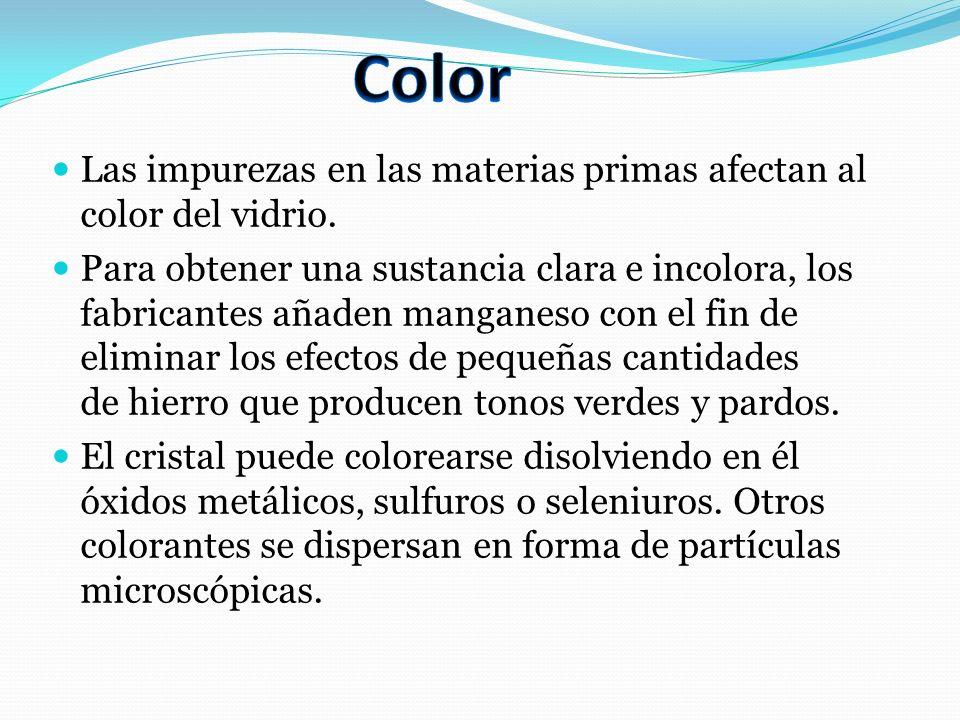 Color Las impurezas en las materias primas afectan al color del vidrio.
