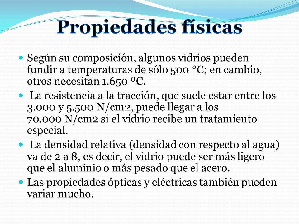 Propiedades físicas Según su composición, algunos vidrios pueden fundir a temperaturas de sólo 500 °C; en cambio, otros necesitan 1.650 ºC.