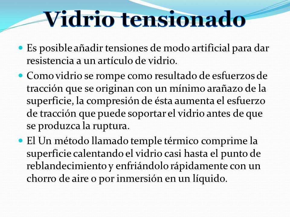 Vidrio tensionado Es posible añadir tensiones de modo artificial para dar resistencia a un artículo de vidrio.
