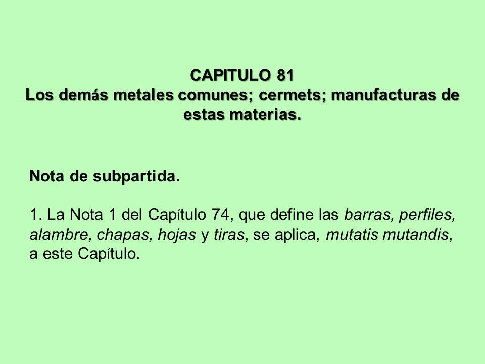 CAPITULO 81 Los demás metales comunes; cermets; manufacturas de estas materias.