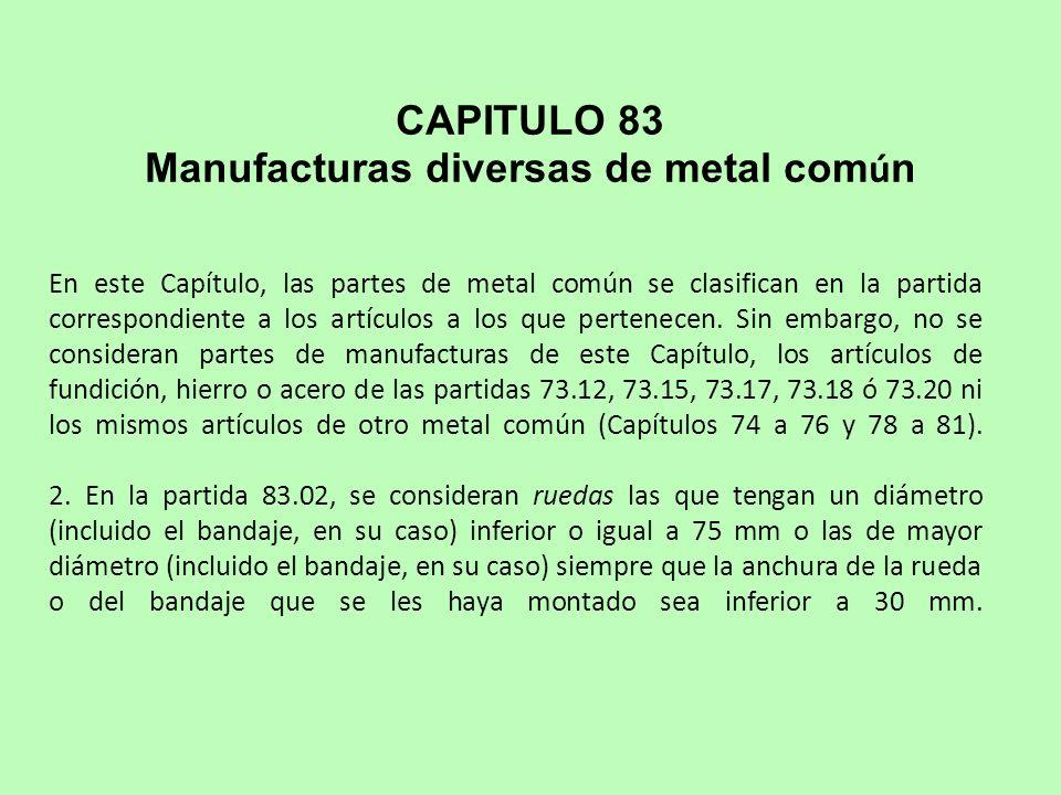 Manufacturas diversas de metal común