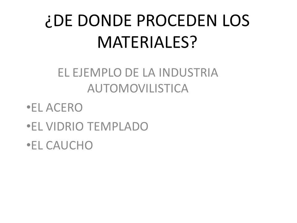 ¿DE DONDE PROCEDEN LOS MATERIALES