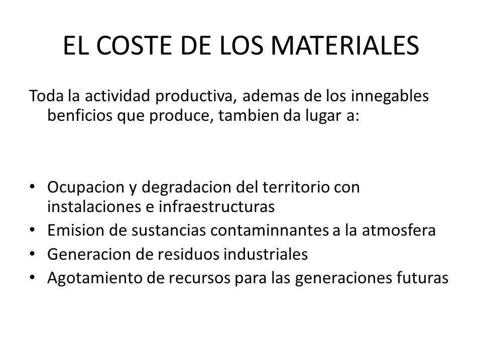EL COSTE DE LOS MATERIALES