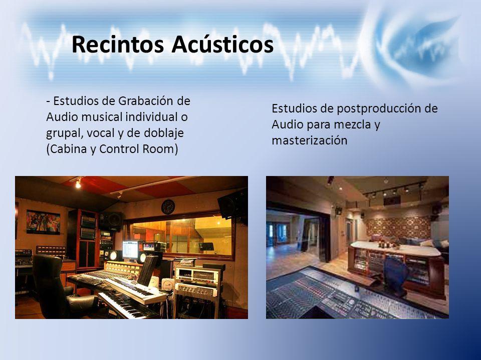 Recintos Acústicos Estudios de Grabación de Audio musical individual o grupal, vocal y de doblaje (Cabina y Control Room)