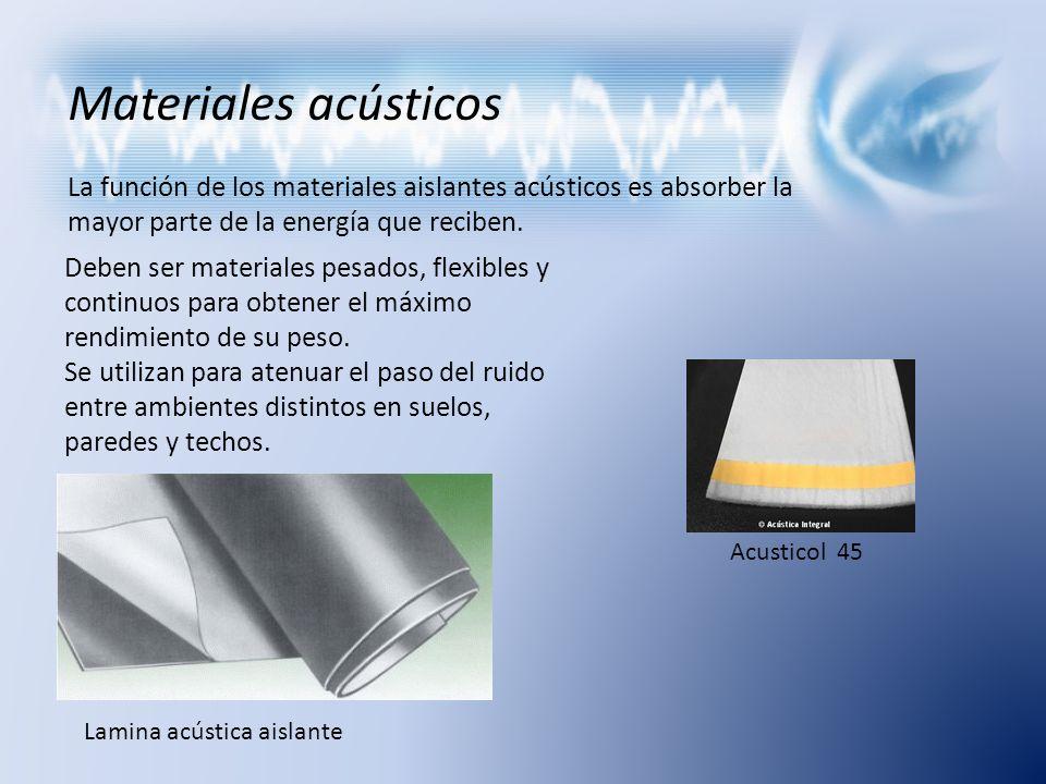 Materiales acústicos La función de los materiales aislantes acústicos es absorber la mayor parte de la energía que reciben.
