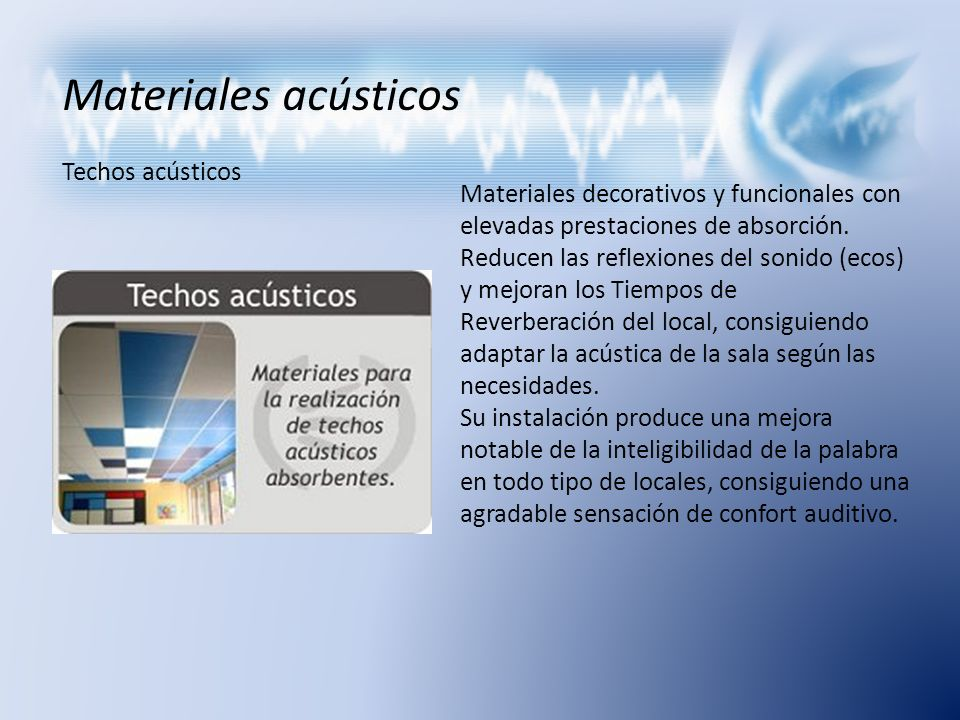 Materiales acústicos Techos acústicos
