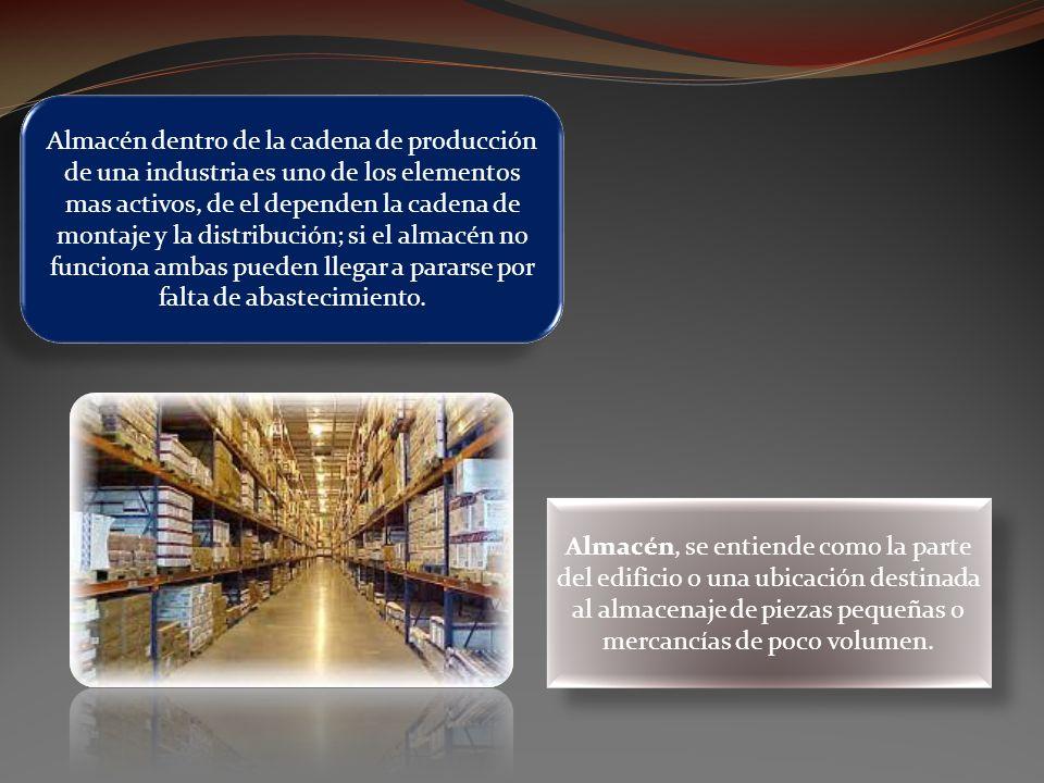 Almacén dentro de la cadena de producción de una industria es uno de los elementos mas activos, de el dependen la cadena de montaje y la distribución; si el almacén no funciona ambas pueden llegar a pararse por falta de abastecimiento.