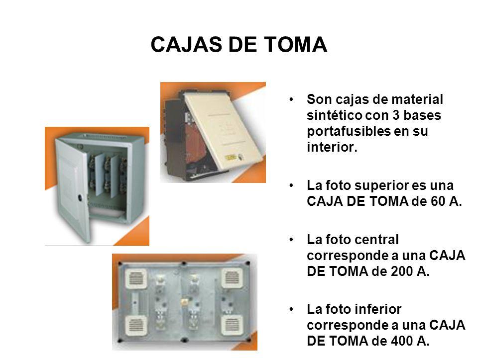CAJAS DE TOMA Son cajas de material sintético con 3 bases portafusibles en su interior. La foto superior es una CAJA DE TOMA de 60 A.