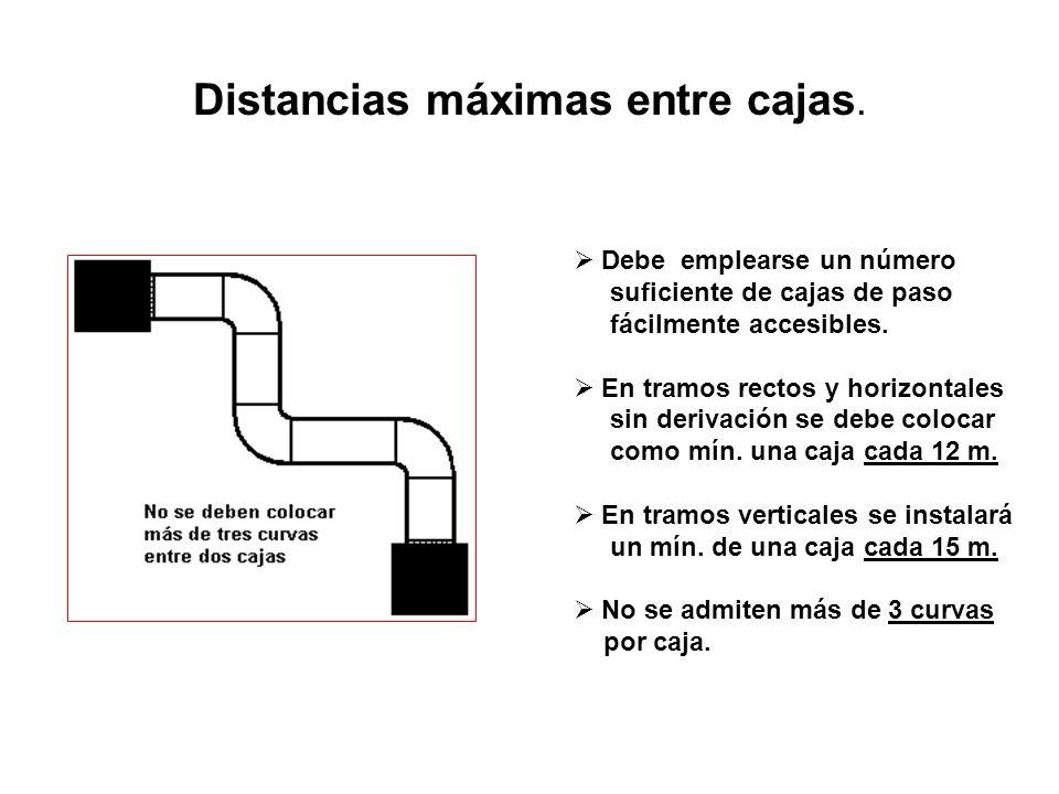 Distancias máximas entre cajas.