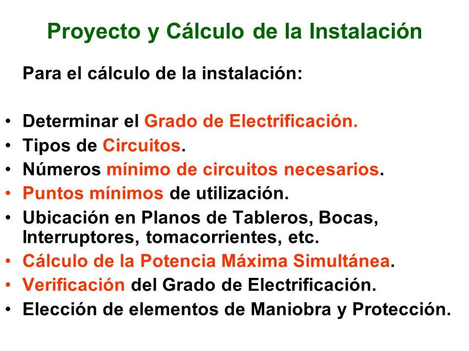 Proyecto y Cálculo de la Instalación