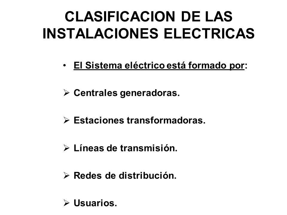 CLASIFICACION DE LAS INSTALACIONES ELECTRICAS