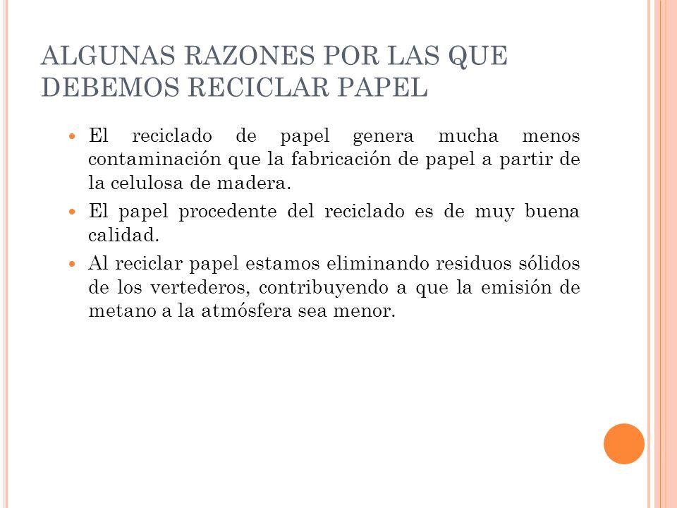 ALGUNAS RAZONES POR LAS QUE DEBEMOS RECICLAR PAPEL
