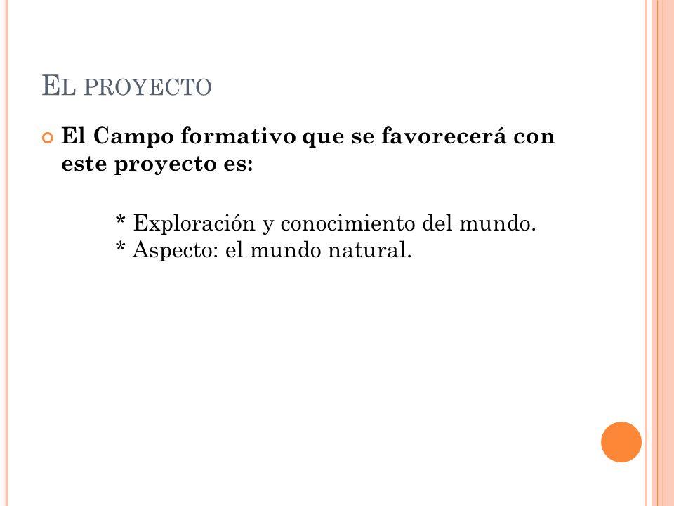 El proyecto El Campo formativo que se favorecerá con este proyecto es: