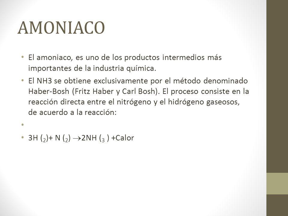 AMONIACO El amoniaco, es uno de los productos intermedios más importantes de la industria química.