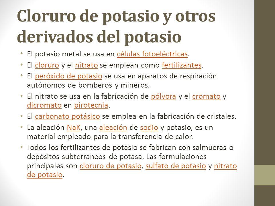 Cloruro de potasio y otros derivados del potasio