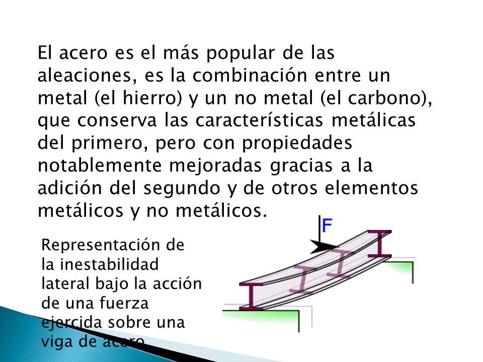 El acero es el más popular de las aleaciones, es la combinación entre un metal (el hierro) y un no metal (el carbono), que conserva las características metálicas del primero, pero con propiedades notablemente mejoradas gracias a la adición del segundo y de otros elementos metálicos y no metálicos.
