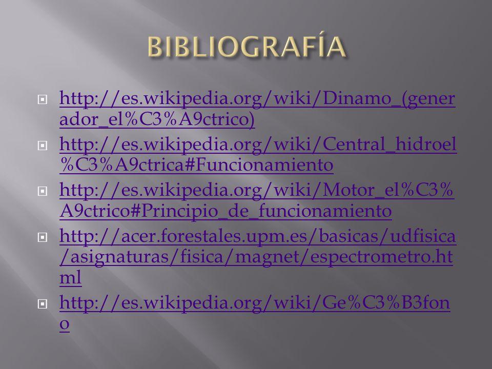 BIBLIOGRAFÍA http://es.wikipedia.org/wiki/Dinamo_(generador_el%C3%A9ctrico) http://es.wikipedia.org/wiki/Central_hidroel%C3%A9ctrica#Funcionamiento.