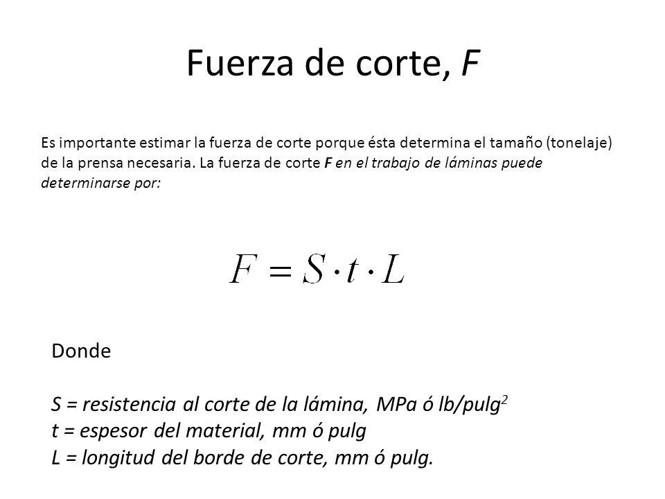 Fuerza de corte, F