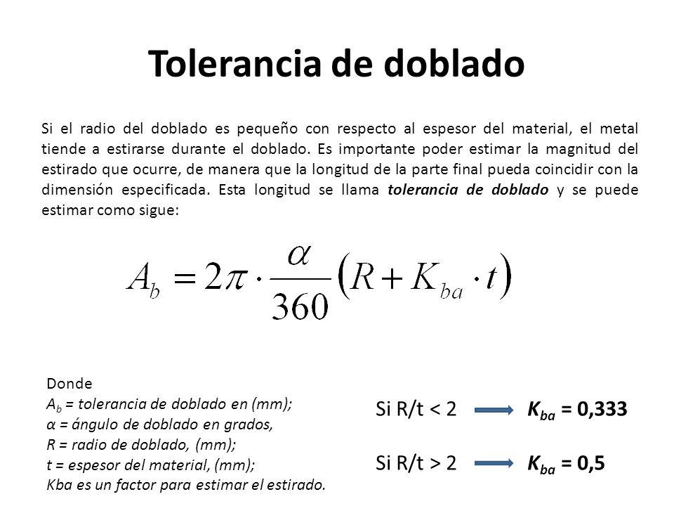 Tolerancia de doblado Si R/t < 2 Kba = 0,333
