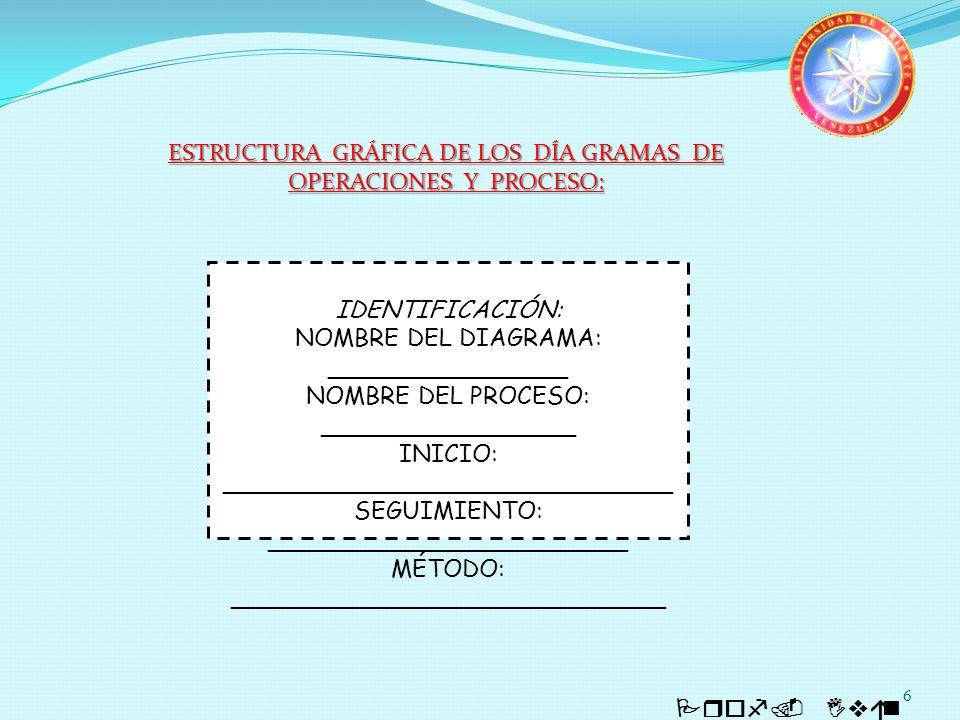 ESTRUCTURA GRÁFICA DE LOS DÍA GRAMAS DE OPERACIONES Y PROCESO: