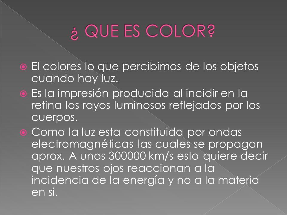 ¿ QUE ES COLOR El colores lo que percibimos de los objetos cuando hay luz.
