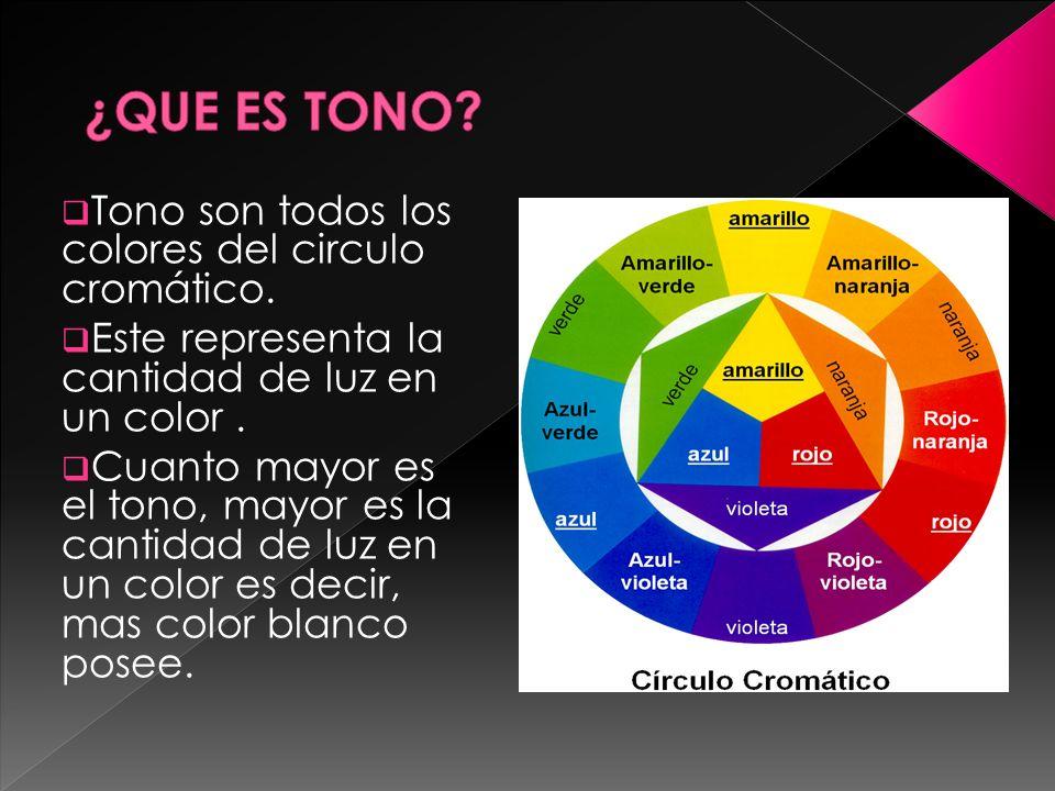 ¿QUE ES TONO Tono son todos los colores del circulo cromático.
