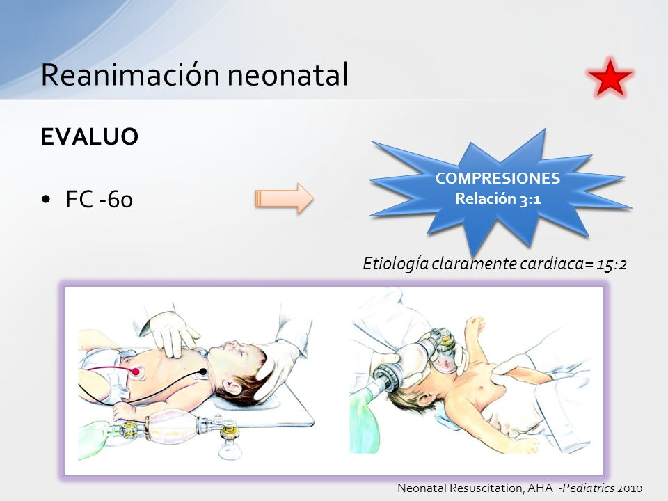 Reanimación neonatal EVALUO FC -60 Etiología claramente cardiaca= 15:2