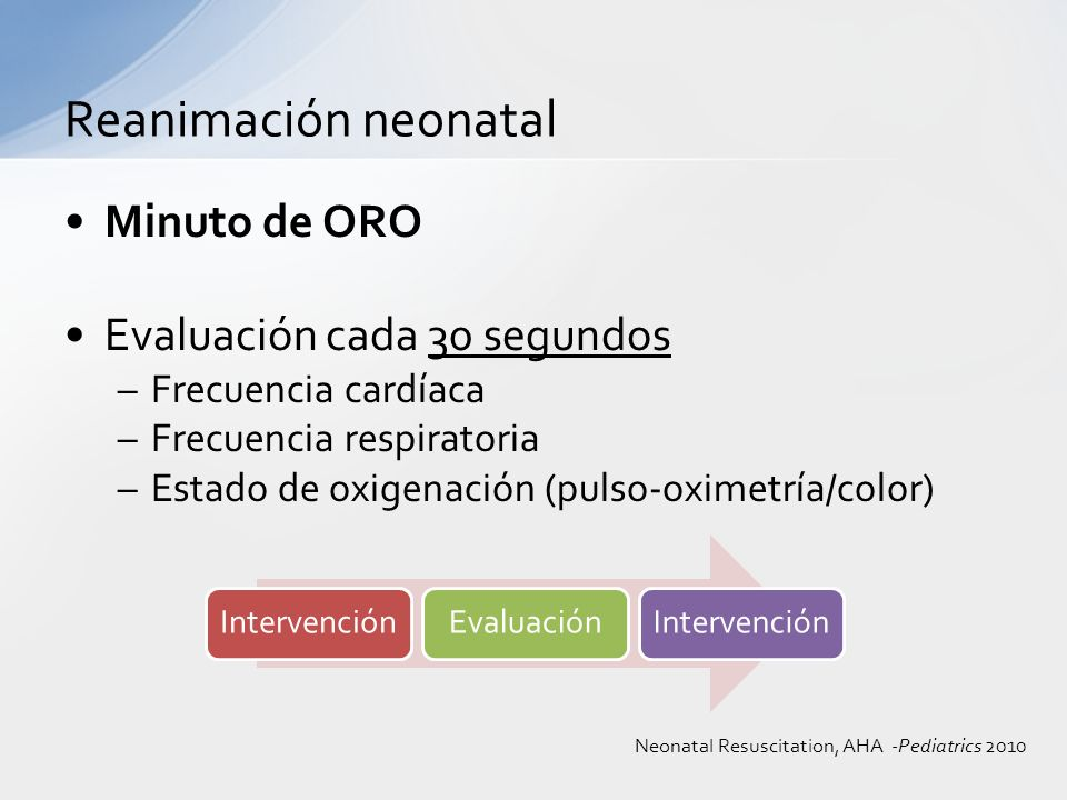 Reanimación neonatal Minuto de ORO Evaluación cada 30 segundos