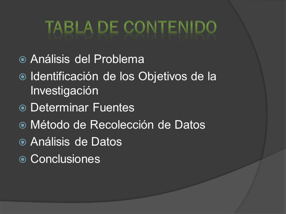 TABLA DE CONTENIDO Análisis del Problema