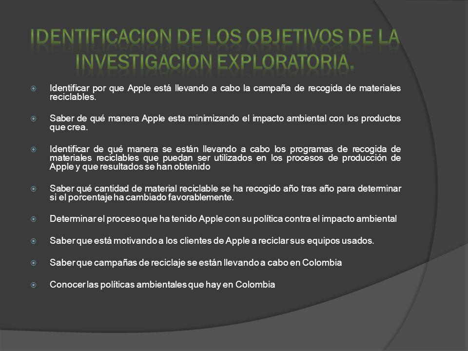 IDENTIFICACION DE LOS OBJETIVOS DE LA INVESTIGACION EXPLORATORIA.