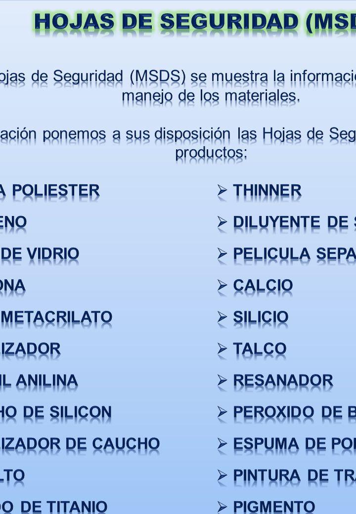 HOJAS DE SEGURIDAD (MSDS)