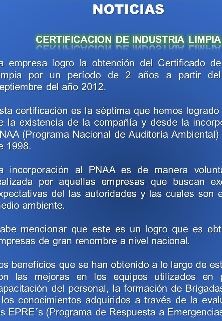 CERTIFICACION DE INDUSTRIA LIMPIA