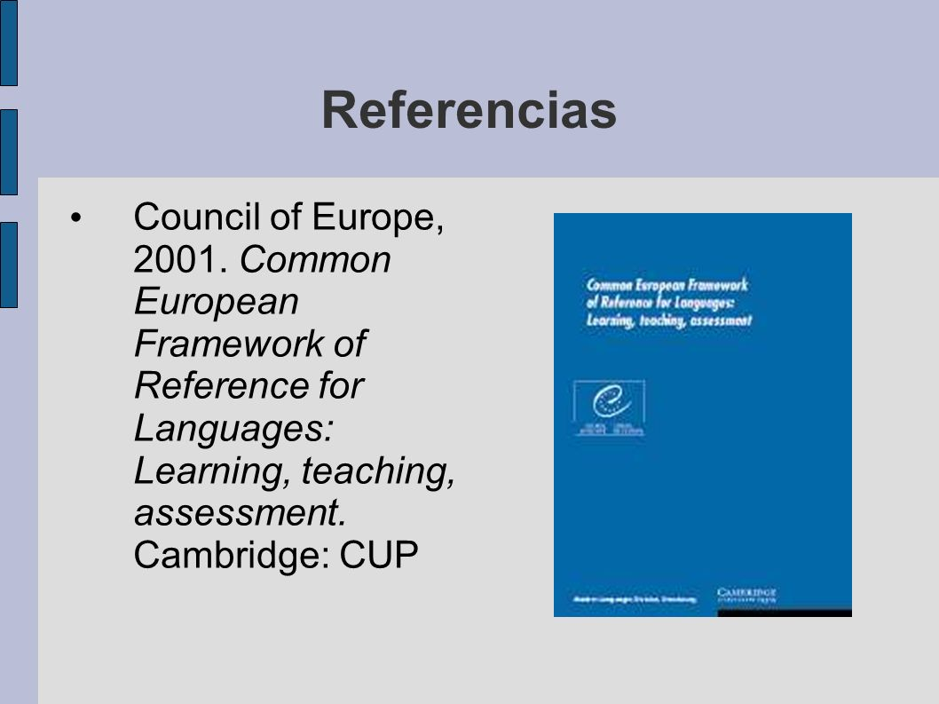 Referencias Council of Europe, 2001.