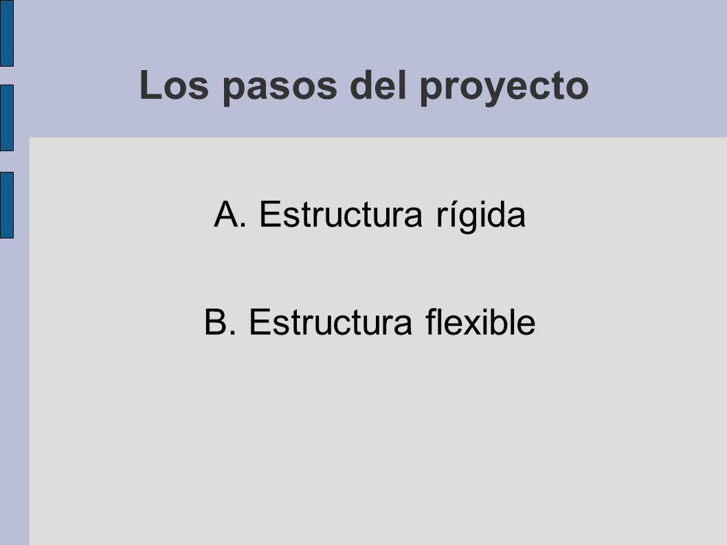 Los pasos del proyecto A. Estructura rígida B. Estructura flexible